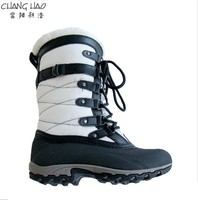 New Design Waterproof Snow Boot Manufacturer,White Ground Has Elastic Tape With Plush Welt Fashion Boot