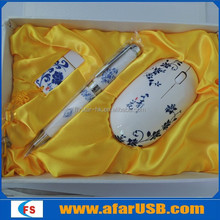 Hot selling China-style gift sets of usb flash drive, pen and mouse new fashion
