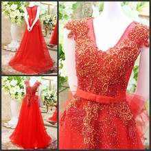 Real Sample A-line V-neck Beaded Lace Evening Dresses Red Dresses 2015 for Woman