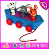 2015 New wooden pull toy for kids,colorful boat design wooden toy pull for children,hot sale wooden toy for baby W05B003