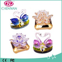 2015 lotus flower car glass perfume bottle wholesale swan crystal wedding gift