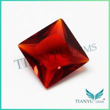 Free sample custom jewelry square red garnet china glass stone handmade jewelry