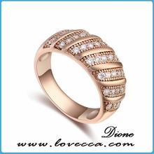 De lujo circón brillante diamante anillo de compromiso