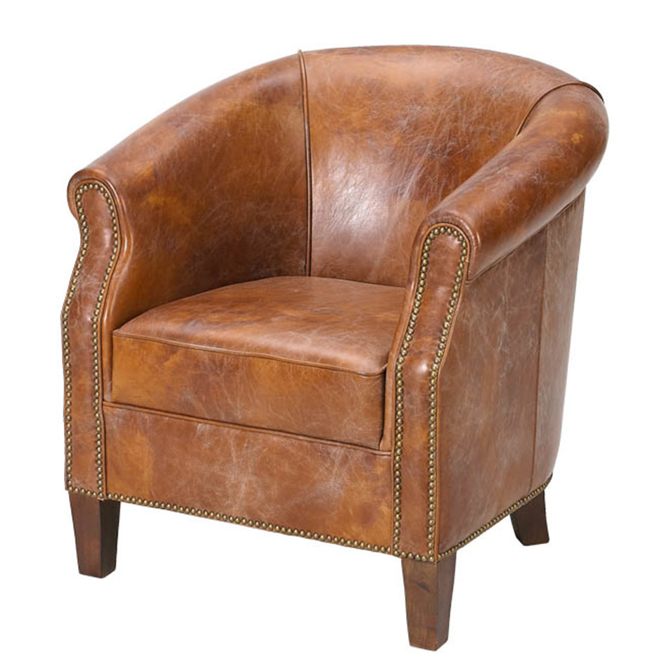 American Vintage Leather Tub Chair - American Vintage Leather Tub Chair - Buy American Vintage Leather