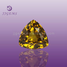 decorative fat Triangle golden yellow glass gems