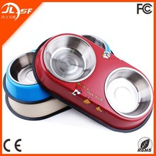 stainless steel dog puppy bowls Colorful anti-slip cartoon design pet bowls