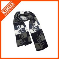 Wholesale custom knitted sports jacquard acrylic football scarf