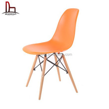 Hot sale dining modern transparent clear plastic fiberglass side chair with wood/chrome metal/clear legs