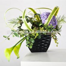 China de alta calidad artificiales flor olla, pequeña decoración de macetas de plástico