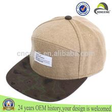 personalizado strapback gorra/sombreros con cuero etiquta 100% lana strapback gorra