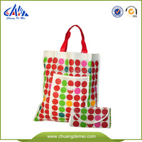 reusable shopping bag folding nylon bag with velcro pocket