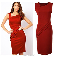 2015 Hot-selling Fashion Women Clothing Summer Official Lady Knee Length Pleated Dress