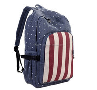 Navy Star Vertical Stripe Print Contrast Color Canvas Backpack Bag