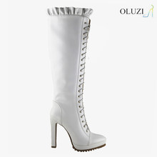 OLZ25 Latest design handmade boots high quality genuine leather boot white boots