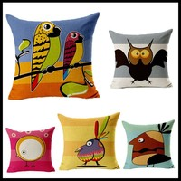 Bird printed fashionable backrest Cushion Cover cotton/linen for home decor