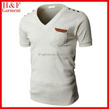 Custom pocket t-shirt v neck slim fit fashion design in blank