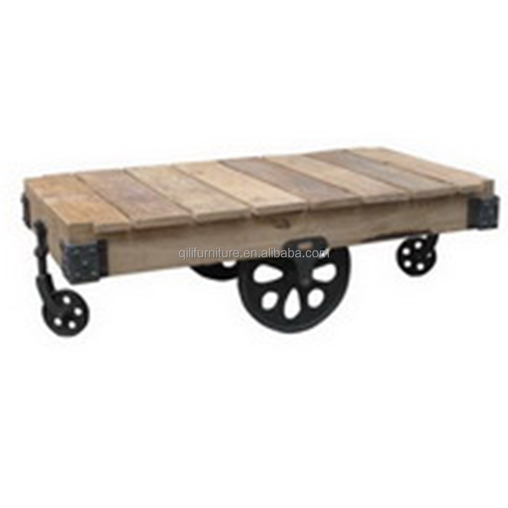 Industrial coffee table with wheels buy industrial for Coffee tables on wheels