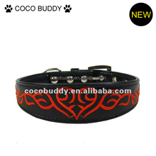 Advanced embroidery leather dog collar with butterfly , love, clouds pattern wholesale