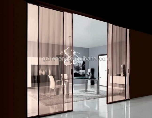 color de madera con puertas correderas con marco de aluminio puertas correderas de cristal