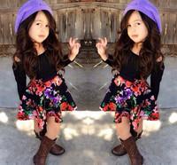 2015 Kids Spring Clothes Korean Fashion Online Shop 2 Piece Kids Sets Top+Skirt