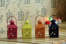 Small hanging metal lantern, candle holder, tealight holder