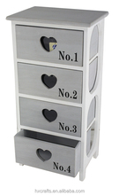 4 Drawer Mini Heart Chest Small Furniture Wooden Bathroom Accessories
