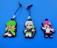 lovely japanese cartoon character soft PVC key chains with mobile stap and dust plug plastic