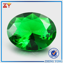 Good cut oval green glass gems for necklace/pendant