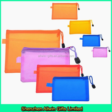 Customized pvc mesh zipper bag for documents keeping