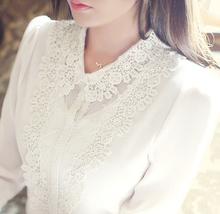d60512h 2015 long sleeve chiffon lace blouse woman plus size blouse