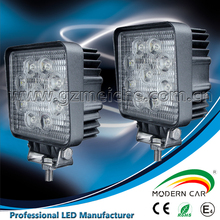 Hot selling auto light car 9 led Square work light with EMC for truck SUV sedan excavator