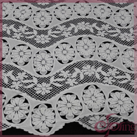 White elegant 100% polyester chemical lace embroidery fabric, embroidery lace for dress, tops, blouse