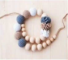 woolen natural beads of yarn handmade chain decorative crochet ball necklace for girls pearl woolen yarn chain pendant jewelry