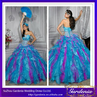 High Quality 2014 New Style Ball Gown Organza Puffy Pink and Blue Wedding Dress (ZX830)