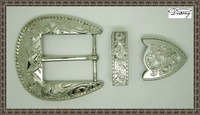 New arrival silver finish custom western belt buckle set for women leather belt