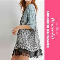 Newest Design Light Blue Prints Tassel Trim Loose Kimonos sexy funny dress Sexy clothes