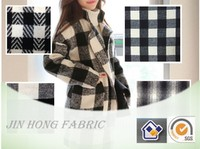 2015-2016 Hot Sale woven grid plaid color black white grey wool/polyester/acrylic/nylon blend fabric for fashion clothing
