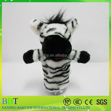 2015 funny design amusing animal shaped plush animal making hand puppet stuffed toy zebra hand puppet