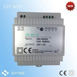 High quality 12v 5A 60w din rail switch power supply 170-265v 2 years warranty
