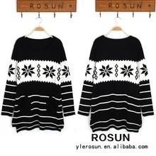 di alta moda lungo sezione maglione stampato a righe maglione disegno di natale fiocco di neve