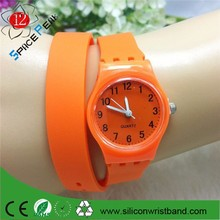 2015 Hot sale long band silicone girl/boy sports watch kids rubber watch orange