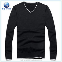 Big-world V-neck Men knitted pullover,long sleeves 100%cotton sweater knit for men,skintight design men sweater wholesale