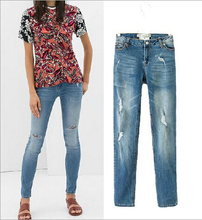 EY0680A 2015 New Womens High Waist skinny Destroyed Ripped Pants Distressed Denim Jeans
