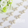 good feedback rhinestone trimmings chain, white color flower shape pearl rhinestone chains for shoes boots decoration