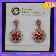 Flower Design Red Zinc Inlay Dangle Drop Earring For Party