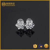 Walmart hot selling fashion jewelry, cz diamond stud earrings in gold plating sterling silver jewelry wholesale
