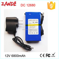 OEM super portable 12v 6800mah rechargeable lithium ion battery for LED or cctv camera