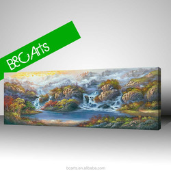 Home decoration print spectacular mountain canvas waterfall landscape oil painting