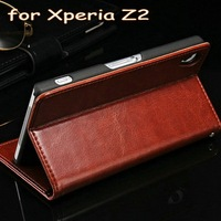 2014 hot selling nice looking PU leather wallet shockproof case for sony xperia z2