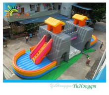 Wow!! Bridge inflatable slide bouncer//inflatable castle with slide